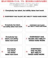 サイズ&文字が選べることわざアイロンシート★誰もが才能を持っている。でも能力を得るには努力が必要だ/Everybody has talent, but ability takes hard work